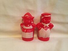 Vintage red Plastic Salt Pepper Shakers Dutch boy girl Campbell's soup kids-cork