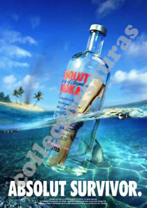 ABSOLUT Vodka - Message in a bottle advertisement - A4 size PRINT + FREE POSTAGE