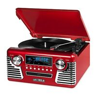 Retro 3-Speed Bluetooth Record Vinyl Turntable Stereo AM/FM Radio CD USB Speaker