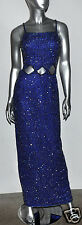 Scala 100% Silk Beaded Sapphire Blue Cut-Outs Evening Gown Formal Dress Sz.S/M