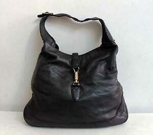 Gucci Leather Jackie Bag Large Shoulder Hobo Satchel Black