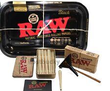 RAW BLACK BUNDLE KIT - ROLLING TRAY+ 25 1 /1 4 NATURAL CONES+LOADER+Storage TIN