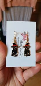 HALLOWEEN Witch's Black Cat Earrings Spooky Horror Party Evening