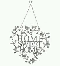 Large Vintage Shabby Chic Home Sweet Home Metal Wall Art White / Grey Distressed