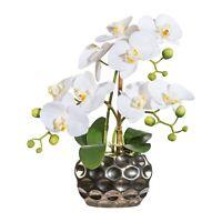 Kunstblume Orchidee 3 Rispen Kunstpflanze weiß inkl. silberner Vase, ca. 30 cm