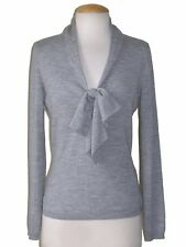 ** ALEXANDER McQUEEN ** $1,165 Heather Gray Pussy Bow Sweater Sz L