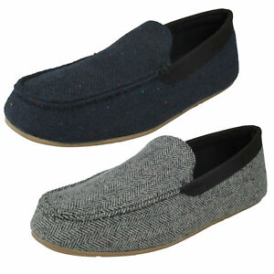 Mens Clarks Interior Cheer Navy Or Grey Textile Moccasin Slippers G Fitting