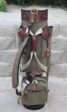Belding Bushwhacker Golf Bag Carry Cart Sage & Brown leather trim FATHERS DAY!!!