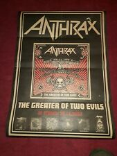 ANTHRAX PROMOTIONAL POSTER. GREATER OF TWO EVILS 2004. VERY RARE. 33 X 23 INCH