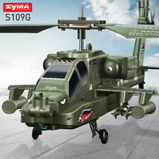 Syma S109 3CH Apache Remote Control LED Light RC Helicopter Drone Army Aircraft