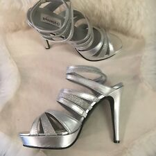 Silver Strappy Platform High Heels Dyeables Women's Anya Platform 9.5 M NEW