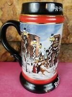 "1992 Budweiser Holiday Beer Stein Mug ""A Perfect Christmas"" Clydesdale Horses"