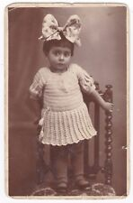 Postcard Real Photo RPPC Portrait of Girl on Chair Knit Dress  Bow Circa 1930