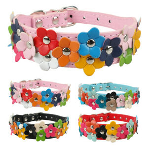 Flower Studded Pet Dog Leather Collar Female Girl Necklace for Small Medium Dogs