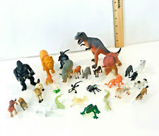 Lot Of 28 Plastic Animal Figures Mixed Brands Lions Tigers Dinasours Kids Toys