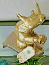 Realist Rhinoceros Gold Figurine Hanging Statue Bust Wall Plaque