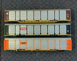 3 Walthers Autoracks Auto Carriers D&RGW ATSF CP Rail HO Nice Lot