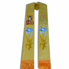 Church Priest Mass Stole Clergy Pastor Flower Cross Crown Embroidered Stole