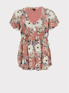 Torrid Floral Challis Button Babydoll Top Dusty Rose 5 5X 28 #26431