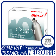 SAME DAY POSTAGE MOSA CREAM CHARGERS 10 PACK X 10 (100 BULBS) WHIPPED N2O