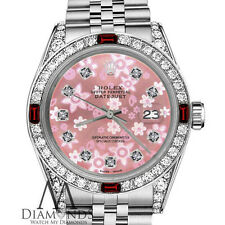 Women's Rolex 36mm Datejust Pink Flower Ruby Certified Diamonds & Rubies Steel