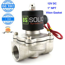 "U. S. Solid 1"" Stainless Steel Electric Solenoid Valve 12V DC Normally Closed"