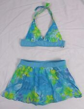 Catalina Blue Floral Womens Top (S) Skirt Bottom (L) Bathing Suit Swimsuit CB33T