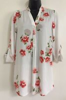 NEW Ex Ladies White Floral Print Summer Button Up Shirt Blouse Top Size 8-20