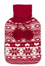 Boux Avenue Fairlisle Mini Hot Water Bottle. 1L. Red & White - New + tags