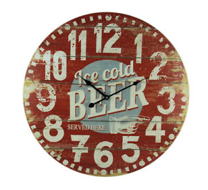 Vintage Red Wood Ice Cold Beer Wall Clock 23 inch