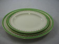 "Alfred Meakin -  Graduated Green  & Gold Rim Serving Plates. x 3 (14""/ 12""/ 11"")"