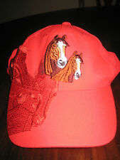 August Sportswear Inc Horses Ponies Ball Cap in Red One Size New