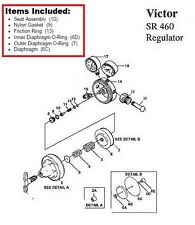 Victor Sr460a Acetylene Regulator Rebuildrepair Parts Kit With Diaphragm