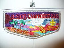 OA O Shot Caw Lodge 265 S-16a,1990 RED Name,Flap,GRY Bd,South Florida Council,FL