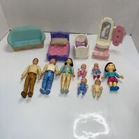 Mixed Lot of Mattel Fisher Price My First Dollhouse Furniture And Mom Dad Baby
