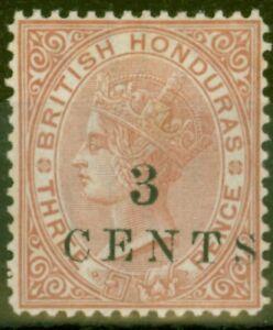 British Honduras 1888 3c on 3d Chestnut SG26 P.14 Fine & Fresh Mtd Mint
