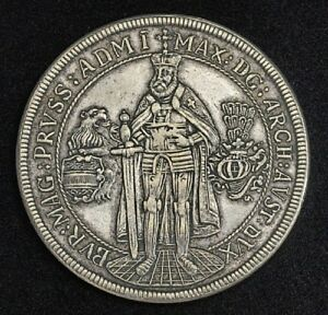 1603 TEUTONIC KNIGHTS MAXIMILIAN THALER MEDAL LAUER RESTRIKE 1800S ULTRA RARE