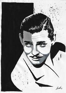 original painting A4 338BJ art samovar acrylic modern male portrait Clark Gable