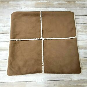 Pottery Barn Brown Sherpa Throw Pillow Cover 18 X 18  Microfiber