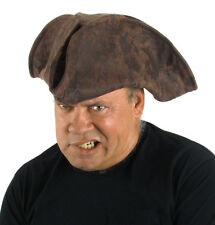 Pirate Hat Brown Suede Look Wired Fabric Tricorn Costume Hat One Size