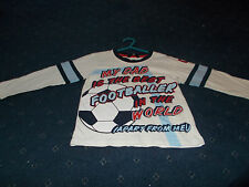 "Boys white long sleeve top age 3-4 from George ""My Dad is the best footballer.."""