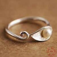 925 Sterlingsilber Ring Damen Ringe Blume Blüte Perle Flower Verstellbar Silber