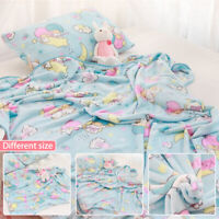 Anime Twin Stars Blue Flannel Blanket Bed Sheet Soft Warm Cute Plush Bedding US
