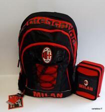 9d5a6db0d3 Milan zaino scuola + astuccio 3 cerniere-prodotto ufficiale-rosso nero