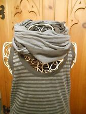 Lagenlook Kookai Green Stripe Layering Vest Top & Snood Scarf T1 8 10 Bnwt