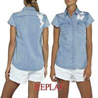 Camicia jeans donna REPLAY taglia S bluse denim vintage inserti ricamati W2242B