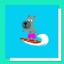 Super cool doggy SURFER illustrated BIRTHDAY or GREETINGS card