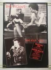 Love Kills Nyc Vintage Poster Wanted Sid Vicious Nancy Sex Pistols Pin-up 80's