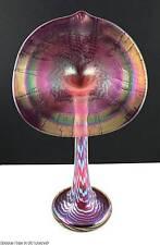 1981 Steven CORREIA Art Glass JACK IN THE PULPIT Ltd E. Vase Iridescent Feather