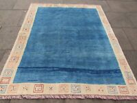 Vintage Traditional Hand Made Oriental Blue Cream Wool Gabbe Rug 210x177cm